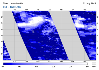 OMI - Cloud cover fraction of 31 July 2019