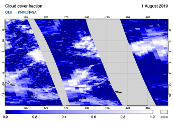 OMI - Cloud cover fraction of 01 August 2019