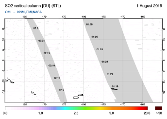 OMI - SO2 vertical column of 01 August 2019