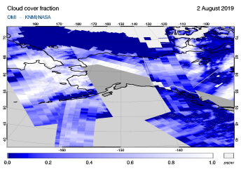 OMI - Cloud cover fraction of 02 August 2019