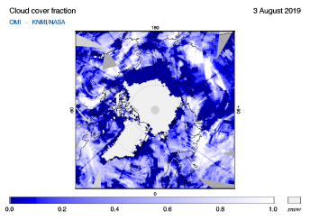 OMI - Cloud cover fraction of 03 August 2019