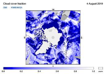 OMI - Cloud cover fraction of 04 August 2019