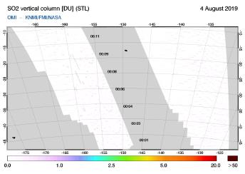 OMI - SO2 vertical column of 04 August 2019