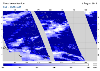 OMI - Cloud cover fraction of 05 August 2019