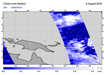 OMI - Cloud cover fraction of 06 August 2019