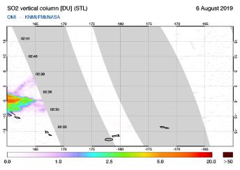 OMI - SO2 vertical column of 06 August 2019