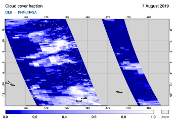 OMI - Cloud cover fraction of 07 August 2019