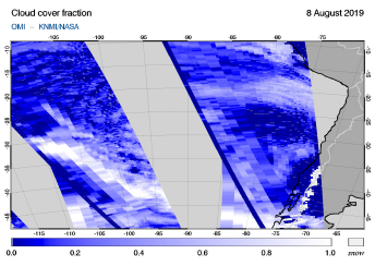 OMI - Cloud cover fraction of 08 August 2019