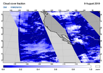 OMI - Cloud cover fraction of 09 August 2019