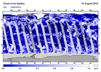 OMI - Cloud cover fraction of 10 August 2019