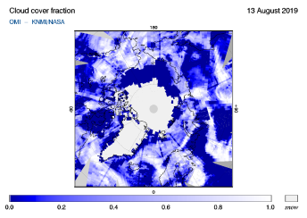 OMI - Cloud cover fraction of 13 August 2019