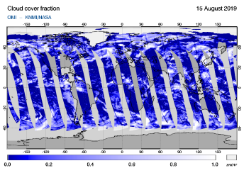OMI - Cloud cover fraction of 15 August 2019