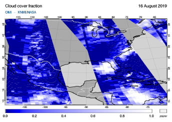 OMI - Cloud cover fraction of 16 August 2019