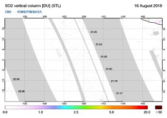 OMI - SO2 vertical column of 16 August 2019