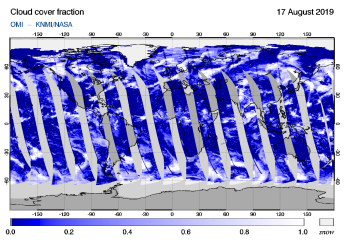 OMI - Cloud cover fraction of 17 August 2019