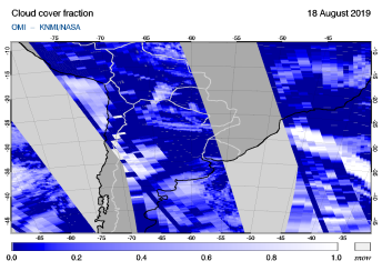 OMI - Cloud cover fraction of 18 August 2019