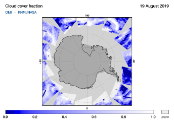 OMI - Cloud cover fraction of 19 August 2019