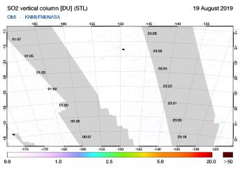 OMI - SO2 vertical column of 19 August 2019