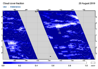 OMI - Cloud cover fraction of 20 August 2019