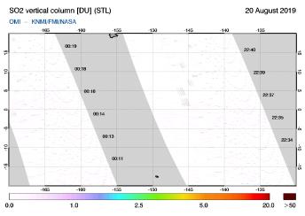 OMI - SO2 vertical column of 20 August 2019