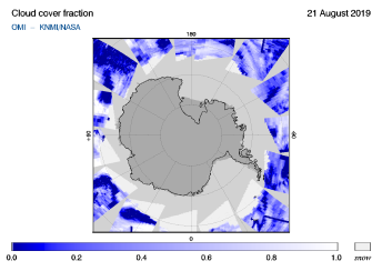 OMI - Cloud cover fraction of 21 August 2019