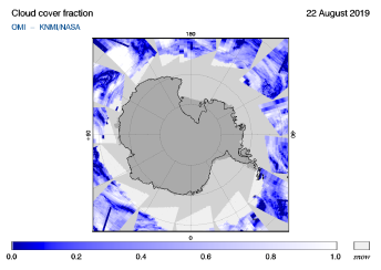 OMI - Cloud cover fraction of 22 August 2019