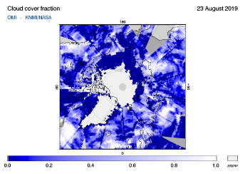 OMI - Cloud cover fraction of 23 August 2019