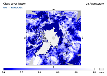 OMI - Cloud cover fraction of 24 August 2019