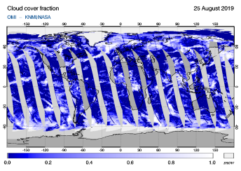 OMI - Cloud cover fraction of 25 August 2019
