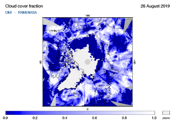 OMI - Cloud cover fraction of 26 August 2019