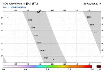 OMI - SO2 vertical column of 29 August 2019
