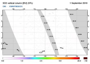 OMI - SO2 vertical column of 01 September 2019