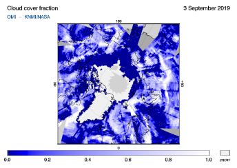 OMI - Cloud cover fraction of 03 September 2019