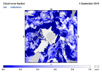 OMI - Cloud cover fraction of 04 September 2019