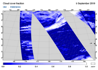 OMI - Cloud cover fraction of 05 September 2019