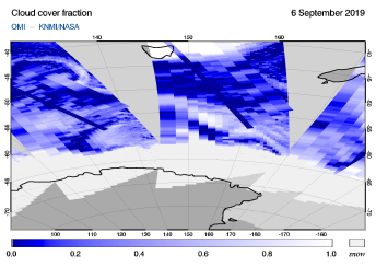 OMI - Cloud cover fraction of 06 September 2019