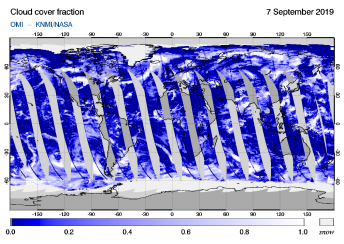 OMI - Cloud cover fraction of 07 September 2019