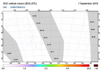 OMI - SO2 vertical column of 07 September 2019