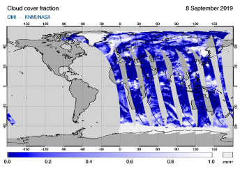 OMI - Cloud cover fraction of 08 September 2019