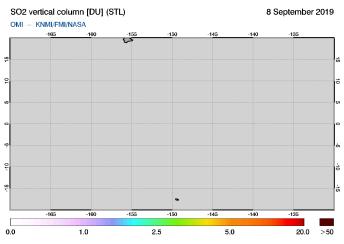 OMI - SO2 vertical column of 08 September 2019