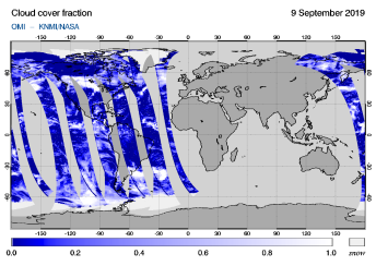 OMI - Cloud cover fraction of 09 September 2019