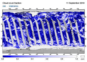 OMI - Cloud cover fraction of 11 September 2019