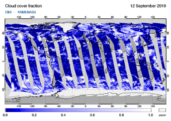 OMI - Cloud cover fraction of 12 September 2019