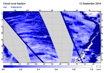 OMI - Cloud cover fraction of 13 September 2019