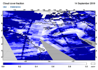 OMI - Cloud cover fraction of 14 September 2019