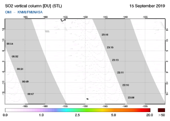 OMI - SO2 vertical column of 15 September 2019