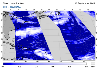 OMI - Cloud cover fraction of 16 September 2019
