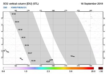 OMI - SO2 vertical column of 16 September 2019