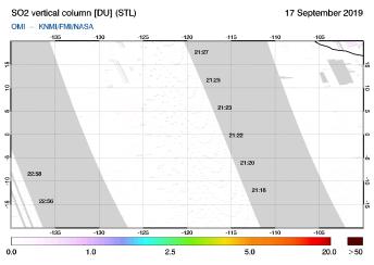 OMI - SO2 vertical column of 17 September 2019