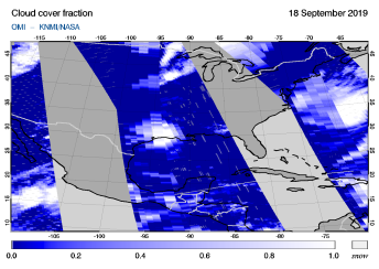 OMI - Cloud cover fraction of 18 September 2019